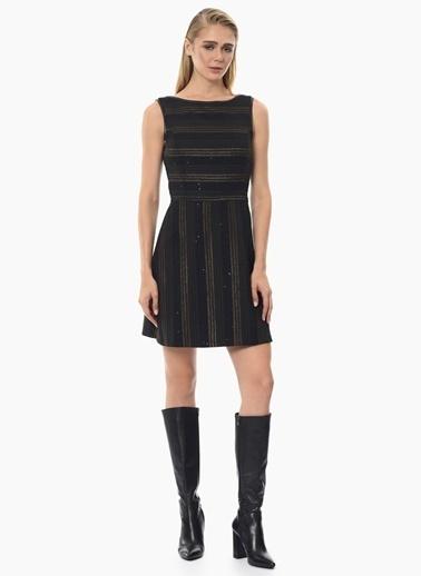 NetWork Kolsuz Çizgili Mini Elbise Siyah